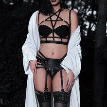 Женское сексуальное нижнее белье с подвязками и ремнем, готический эротический комплект нижнего белья, фестивальный рейв