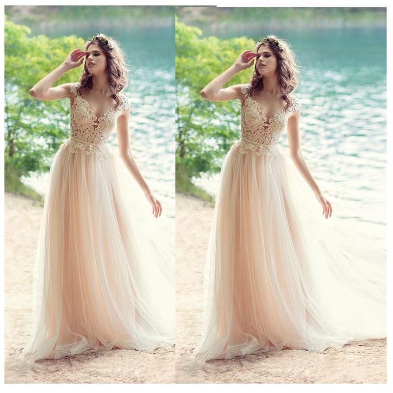 2019 Champagne Lace A-Line Wedding Dress Vestido De Novia Playa Simple Custom Made Bridal Dress Princess Wedding Gown