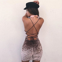 TAUPIN AM 2017 Lace Up Velvet Backless Cross Criss Sleeveless Bodycon Dress Deep V Neck Camisole