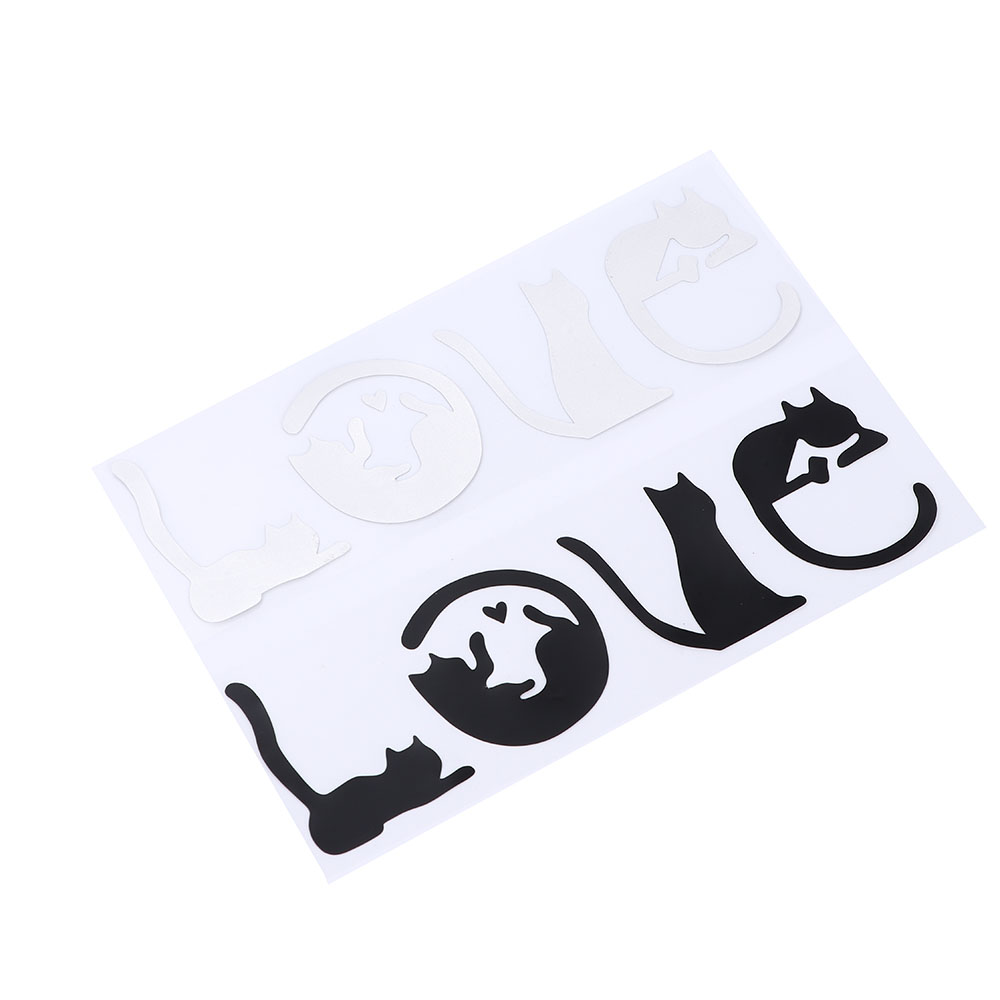 Lovely Cats Spell LOVE Creative Cartoon LOVE Cat Decorative Car Stickers I LOVE CAT Reflecting material Car Stickers(China)
