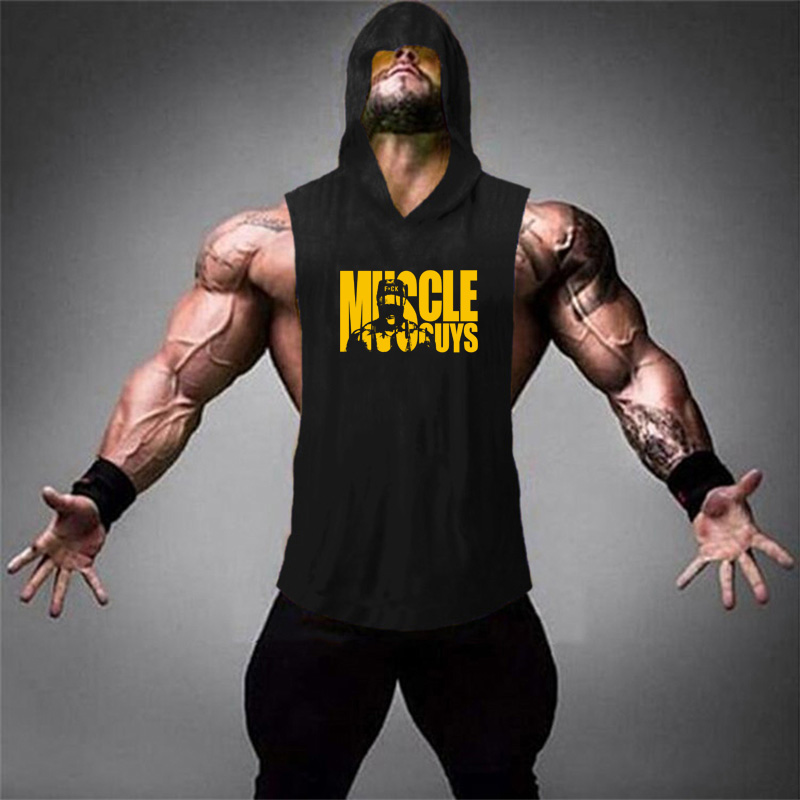 Men/'S Casual Fit Sleeveless Hoodie Gym Workout Bodybuilding Curved Hoodies Vests
