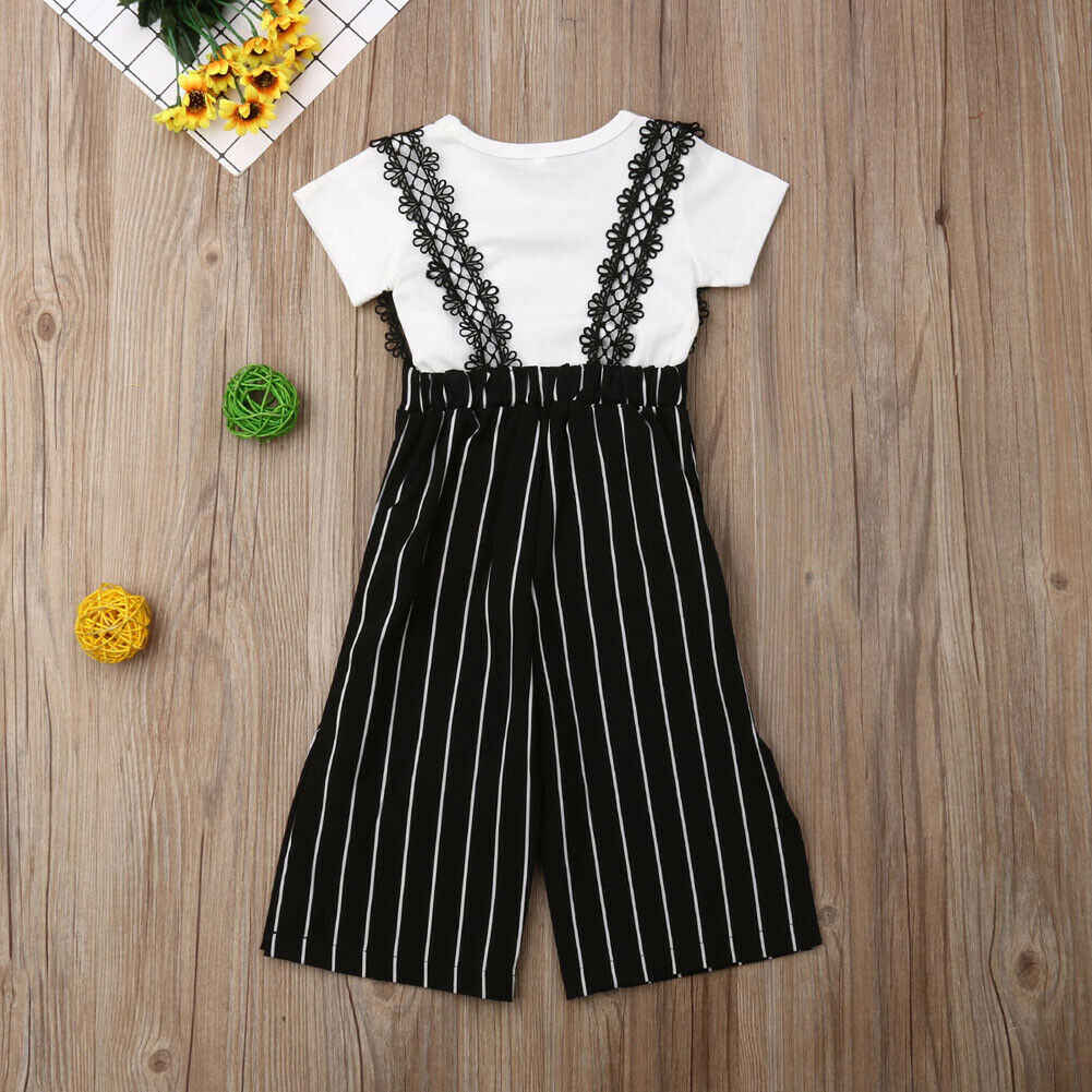 Toddler Kids Baby Girls Short Sleeve Striped Tops Wide Leg Pants Outfits Clothes