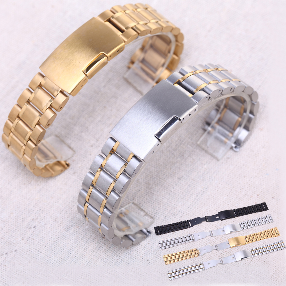 DAHASE 14mm 16mm 18mm 19mm 20mm 21mm 22mm 24mm Solid Classic Stainless Steel Watch Band Strap Watchband Free Shipping 14mm 16mm 17mm 18mm 19mm 20mm 21mm 22mm 23mm 24mm silver black full stainless steel watch strap wacthband for rarone with logo
