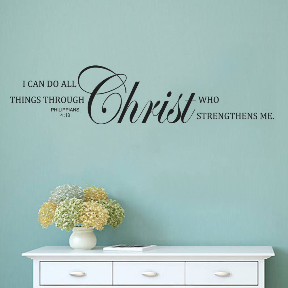 I Can Do All Things Through Christ Who Strengthens Me Philippians 413 Christian Wall Decal Bible Verse Quote 20cm X 86cm In Stickers From Home