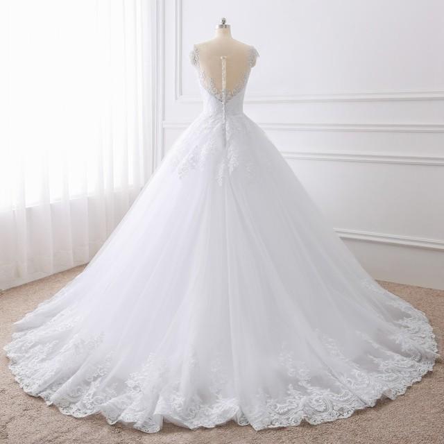 Ball Gown White Wedding Dresses Lace Appliques Bridal Gowns Vestido De Novias Princess Long robe de mariee