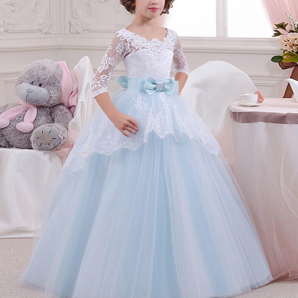 Vintage Elegant Girls Dress for Baby Kid Children Long Sleeve Backless Wedding Princess Dress Girls Party