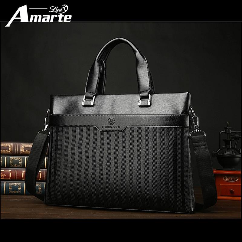 Amarte Famous Brand Fashion Casual Leather Men's Bag New Shoulder Bag Messenger Bags Business Handbag Laptop Male Briefcase