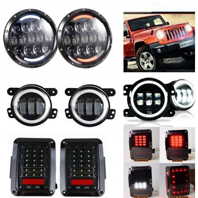 White/Amber Halo Angel Eye 105W 7 LED Headlight + 4'' Fog Light + Tail Lamp For Jeep JK Wrangler