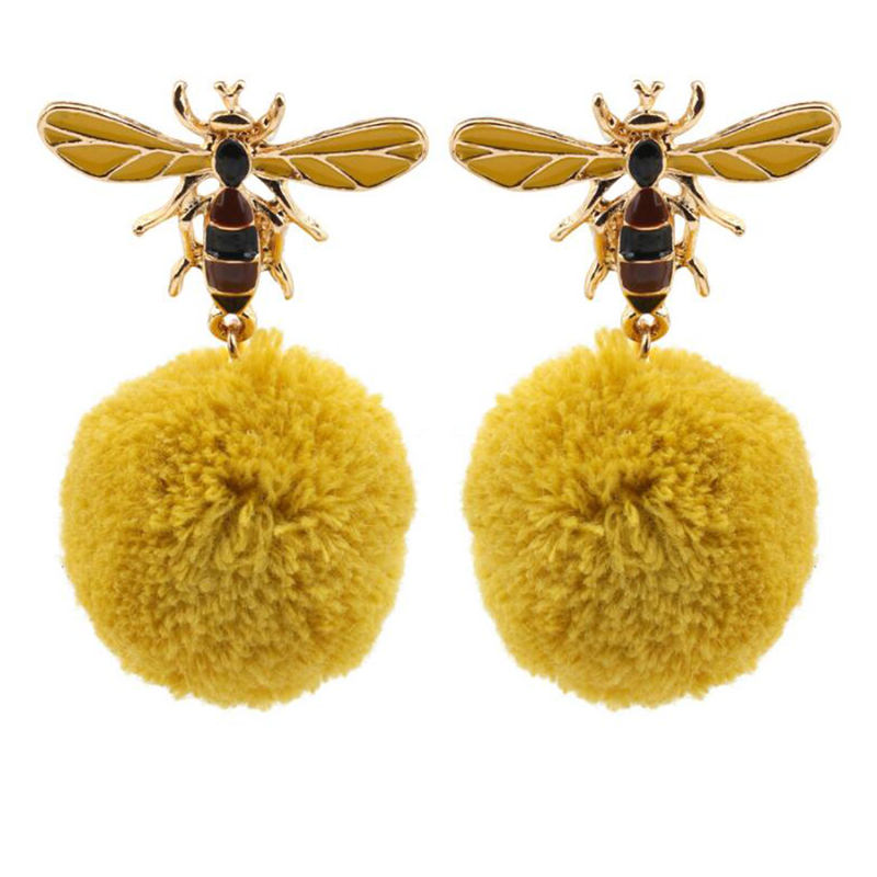 Beautiful New Fashion Cute Lady Girls Honey Bees Bulb Ball Earrings Stud Earrings For Women Fashion Jewelry Unique Personality Oorbellen