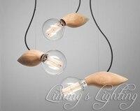 EDISON Native Wood Handmade Bird E27 Bulbs Wooden Bar Chandelier Hanging LED Pendant Lamp Lights Lighting Bulbs Holder socket