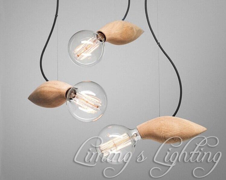 EDISON natif bois fait à la main oiseau E27 ampoules en bois Bar lustre suspendu pendentif LED lampe lumières éclairage ampoules titulaire douille