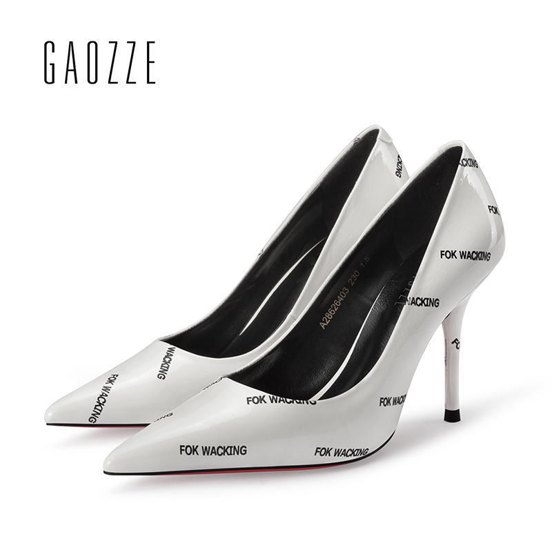 GAOZZE Fashion Women Sexy High Heel Shoes Street Style Letter Printing Social Party Pointed Toe Shoes Pumps Women Shoes Leather