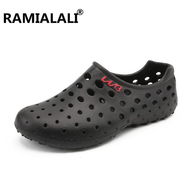 b9322aa0b5d3 Clogs Men Beach Slippers Summer Rubber Sandals Hole Shoes Mules Flip Flops  Pantufas Chinelos Garden Fashion