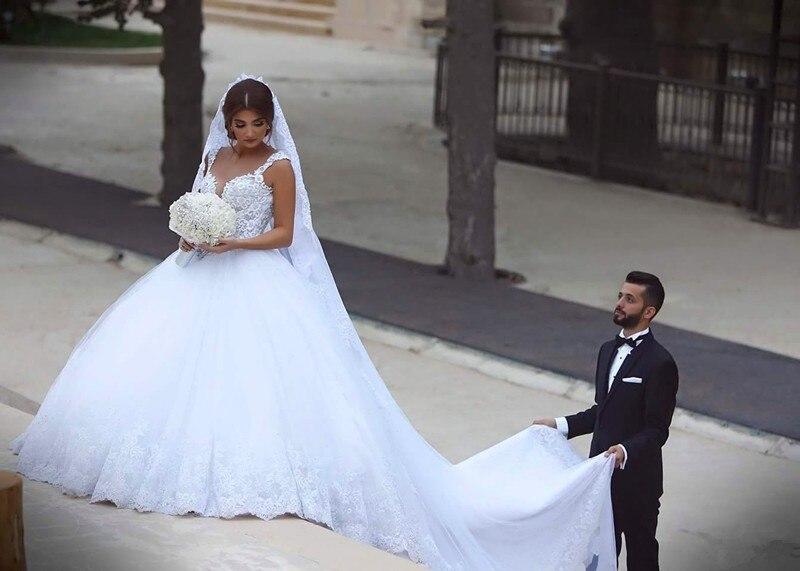 New Fashion Arabic Ball Gown Wedding Dress 2016 Spaghetti