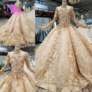 Image 2 - AIJINGYU Satin Wedding Dresses Train Gowns Sexy engagement Bride Couture Bridals Sequin White Ball Gown Nova Wedding Dress