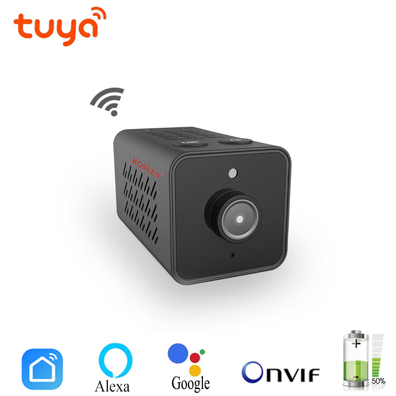 Tuya Mini WIFI Onvif IP Camera Battery Video Recorder HD 1080P For Home Security Surveillance Smart Life App Alexa Google-in Surveillance Cameras from Security & Protection