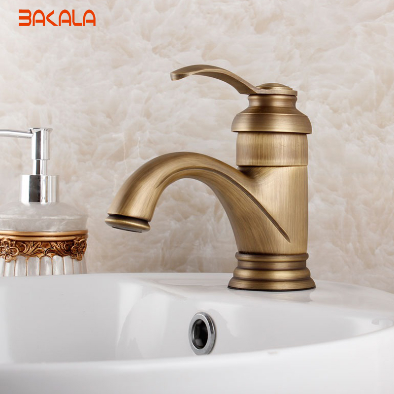 Single Hole Single Handle Retro Style Vessel Sink Faucet Antique Brass Deck Mounted Bathroom Basin Sink