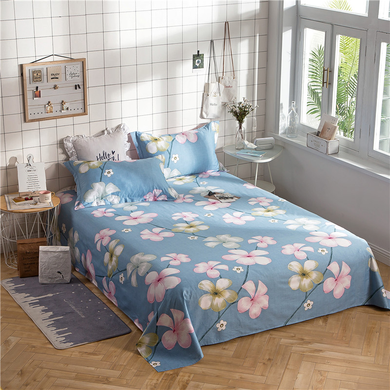 Blue Elegant Red Print 3pcs Flat Sheet Set 100% Cotton Soft Bedding Bedsheet+2pillowcases Sheets Set Comfortable Set Sheet Sets