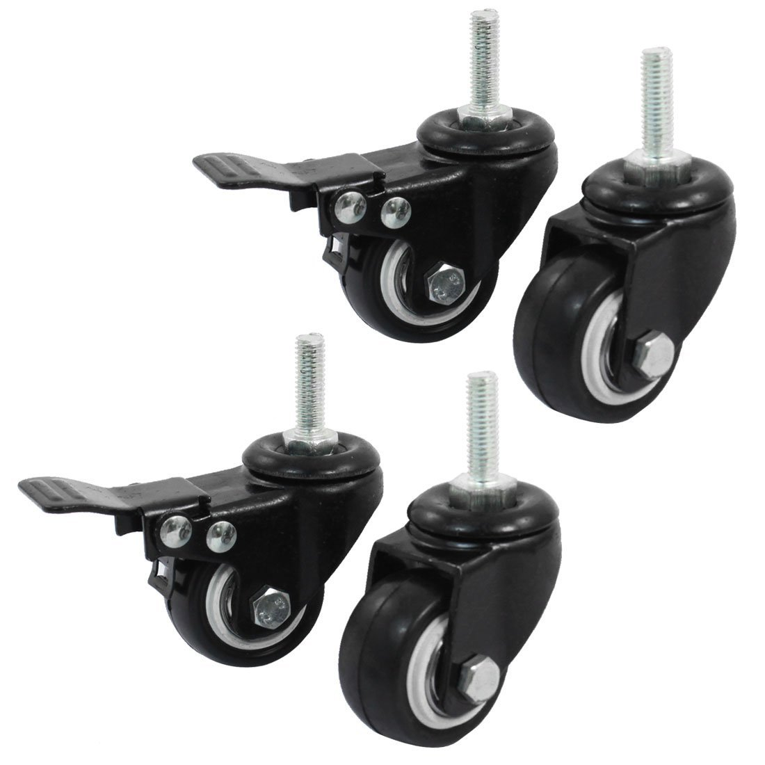 M8 Metal 360 Rotatable 4 Pcs/lot 1.5 Inch Shopping Trolley Brake Swivel Caster Wheel Double Ball Bearings Black Polyurethane|Casters| |  - title=
