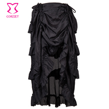 Corzzet Black Multilayer Victorian Burlesque Costumes Gothic Steampunk Clothing Ruffled Chiffon Skirt For Women Matching Corset