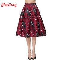 Peritiny 2017 Fall Elegant Women Midi Skirt Floral Print High Waist Pattern Skater Vintage Skirts A
