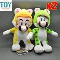 """Новый 2 шт. супер марио кошка марио луиджи 3D мир 7 """" аниме Brinquedos мягкая Peluches плюшевые куклы игрушки детей Juguetes зеленый желтый"""