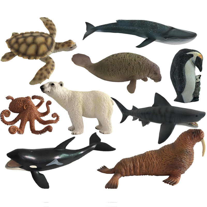 2018 new Action Figure Ocean Sea Animals Toy Penguin Octopus Turtle Bear Polar Learning Educational Simulation Model For Kids #Z ...