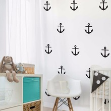 цена на Anchor Down Wall Decal Set 40 Pieces Anchor Vinyl Wall Sticker Kids Room Home Decor Removable Sea Style Wall Art Mural AY1505