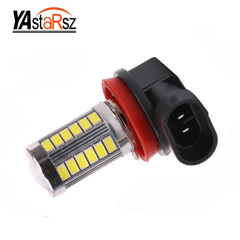 1pcs H11 led High Power 5630 33LED Pure White Fog Head Tail Driving Car Light Bulb Lamp 12V H11 33 SMD fog lamp car light source gaude