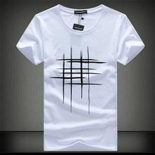 SWENEARO 2018 Simple creative design line cross Print cotton T Shirts Men's New Arrival Summer Style Short Sleeve Men t-shirt(China)