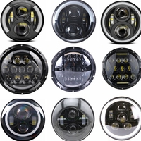 7 LED Headlight For Harley MOTORCYCLE CHROME PROJECTOR DAYMAKER HID LED LIGHT BULB For Jeep Wrangler