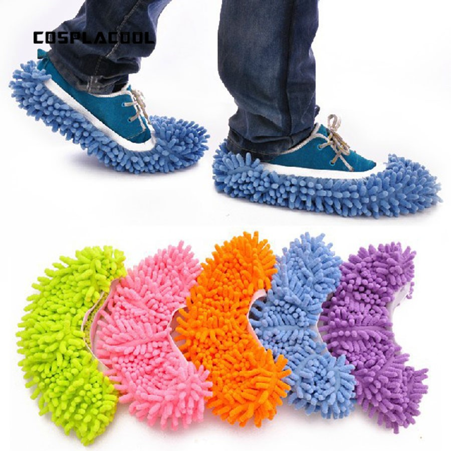 [COSPLACOOL]Multifunctional chenille fibre washable dust mop slippers   socks   cleaning shoes women's fashion shoes meias