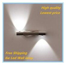 Free Shipping 6W Modern Aluminum LED Wall Lights bulb lamp home decor restroom bathroom bedroom reading wall lamp hotel  lights цена 2017