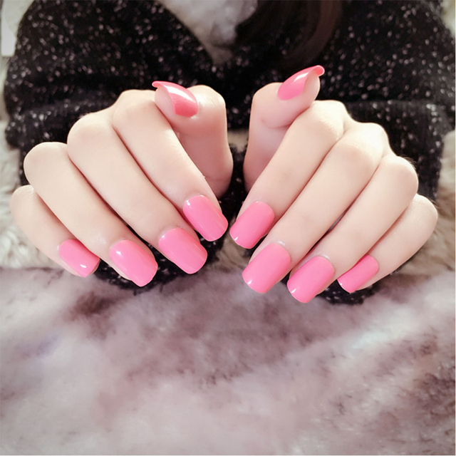 YuNail 24pcs Set OL Style Girls Nail Art Plastic Short Design Full Cover Pink Artificial
