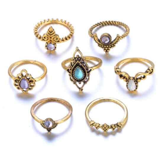 Nova Moda 1 conjunto = 7 pcs Casamento Jóias Boêmio Étnica Ouro Cor prata Oco Flor De Cristal Do Vintage Exagerada Anel para As Mulheres