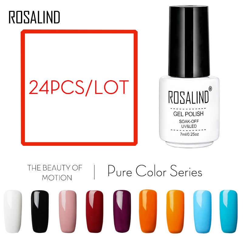 רוזלינד 24 יח'\חבילה ג 'ל לק לבן בקבוק מוצק צבע סדרת שרף ג' ל לכה ארוך לטווח UV & LED משרים-off ג 'ל לכה