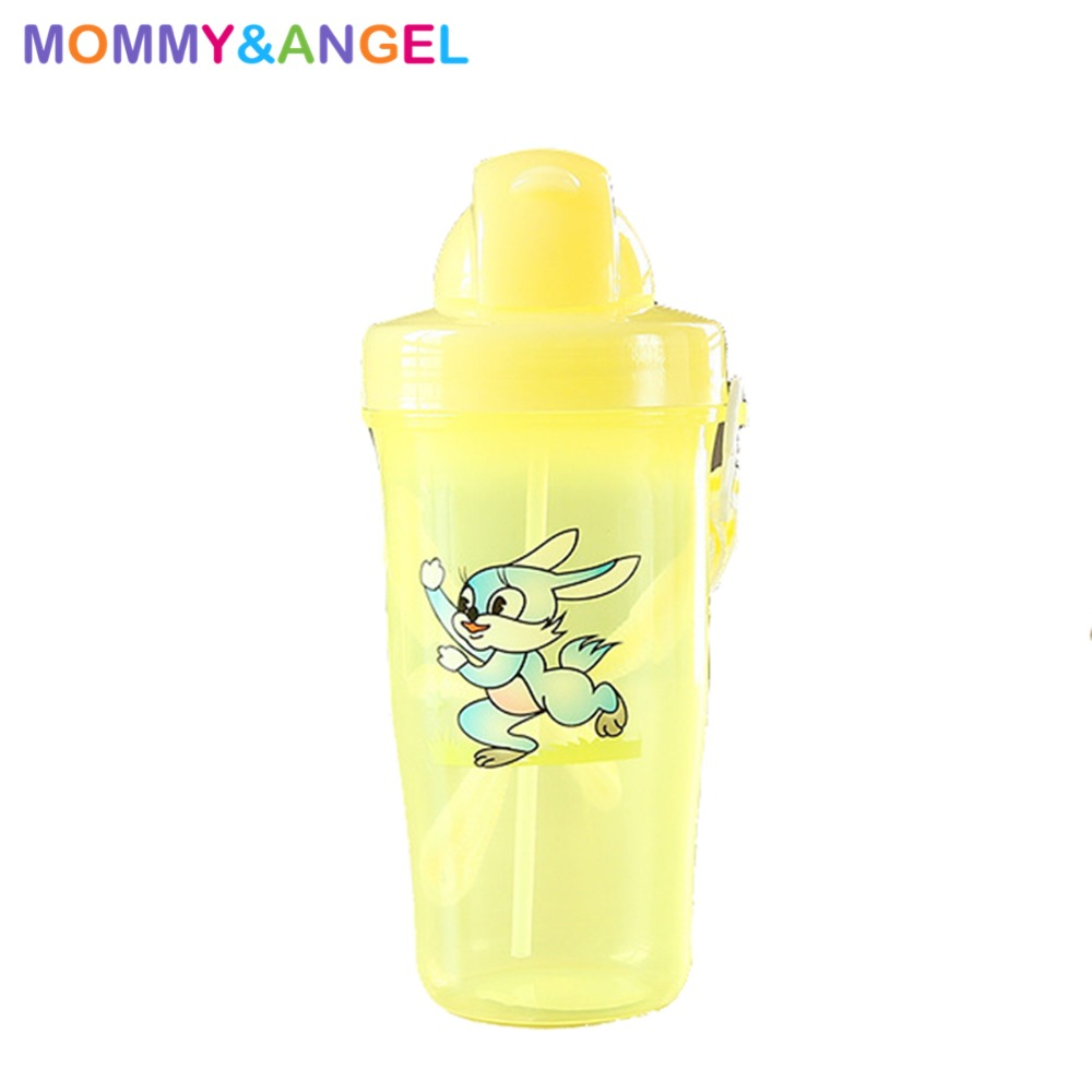 450ml Disne Minnie Mickey Mouse Kids Drinking Bottle Feeding Straw Sleek Baby Nipple Pouch Boygirl Portable No Spill Cups For Water Bottles Training Cup Copo