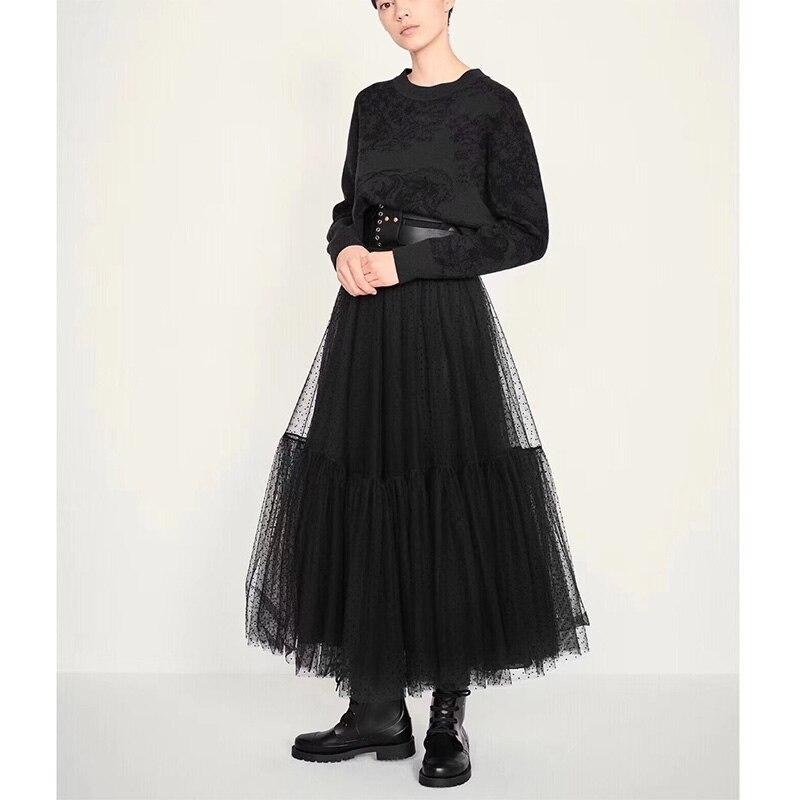Cosmicchic 2019 Runway Designer Women Black Long Tulle Skirt High Waist Pleated Polka Dot Maxi Skirt