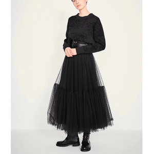 Image 1 - Cosmicchic 2019 활주로 디자이너 여성 블랙 롱 Tulle Skirt 하이 웨스트 플리츠 폴카 도트 Maxi Skirt Lolita Saia Jupe Faldas
