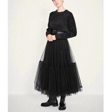 Cosmicchic Đường Băng 2019 Thiết Kế Nữ Đen Dài Voan Váy Cao Cấp Xếp Ly Chấm Bi Đầm Maxi Váy Lolita Saia Jupe Faldas