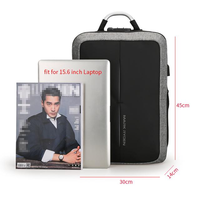 Mark Ryden New Anti-thief USB Recharging Men Backpack