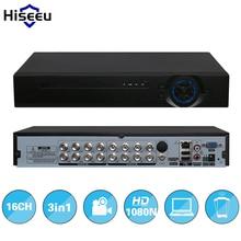 Hiseeu 2HDD 16CH AHD 1080N 3 в 1 DVR видеомагнитофон для аналоговых AHD ip-камеры P2P системы видеонаблюдения DVR h.264 VGA HDMI выход
