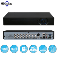 Hiseeu 2HDD 16CH AHD 1080N 3 In 1 DVR Video Recorder For Analog AHD Camera IP