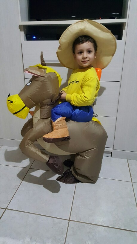 40 to 50 Inch Tall Kids Gift Animal Halloween Costume for Kids Inflatable Cowboy Ride Horse Children's Day Purim Party Dress