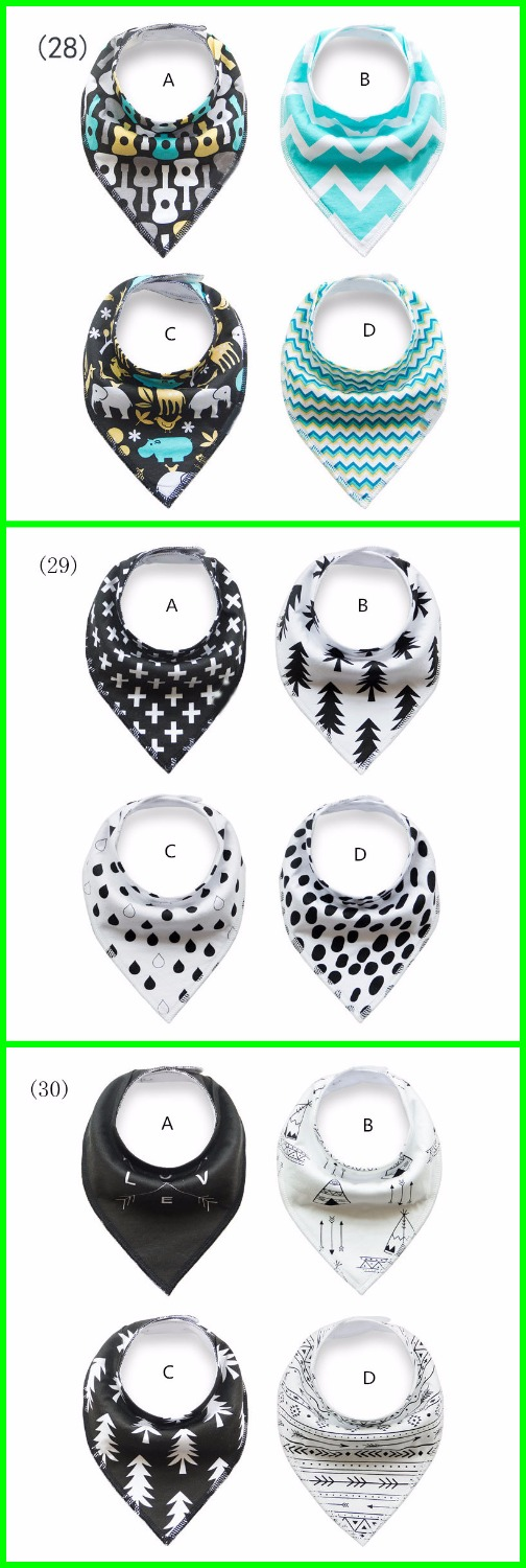 Black and white theme /forest tree + Cross + drop + geometric shape / Bandana Bibs princess girl / 4pcs/set