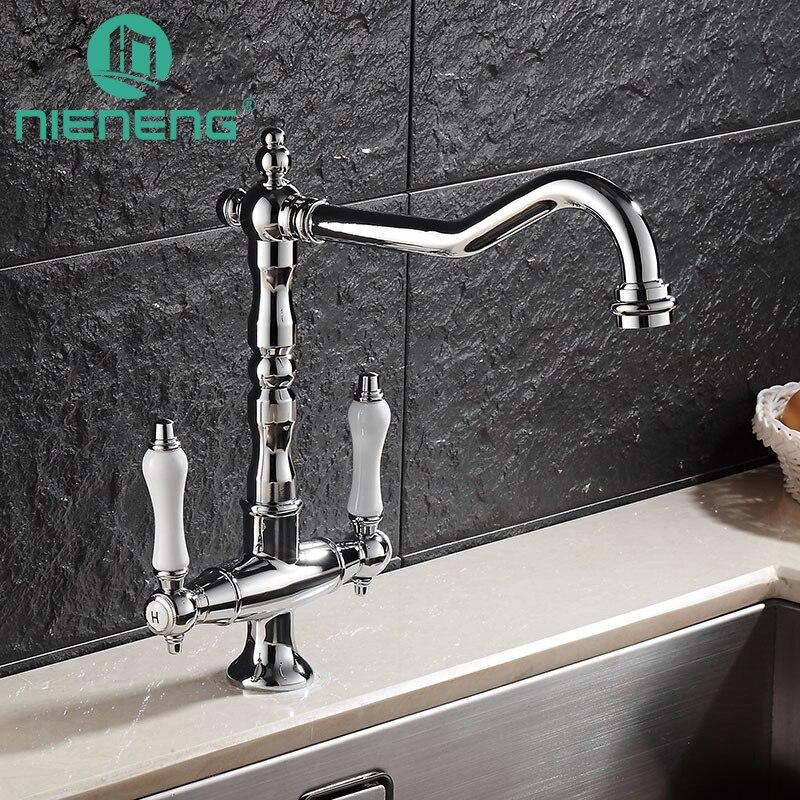 Nieneng Brass Kitchen Faucet Home Improvement Accessories Antique 360 Swivel Faucets Dual Handles Basin Sink Mixer