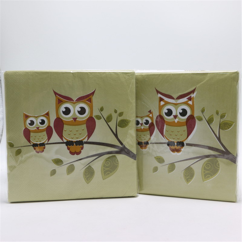 Rosa/marrón pájaro de dibujos animados de mnerva 20 unids/lote tejidos servillet