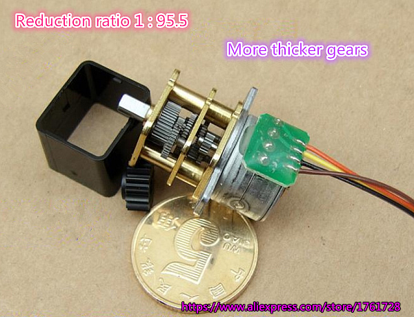 Micro 15MM Precision Gearbox DC 5V 2-Phase 4-Wire Full Metal Gear Stepper Motor