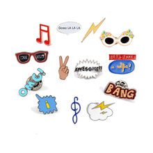 Fashion Cartoon Broche Brief Muzikale Bril Emaille Pins Vrouwen Hoed Denim Jassen Kraag Pin Badges Kind Rugzakken Sieraden Gift(China)