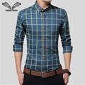Homens da camisa 2017 Nova Chegada Xadrez Slim Fina Moda Casual banda clothing clothing negócios chemise plus size 5xl homem camisas N489